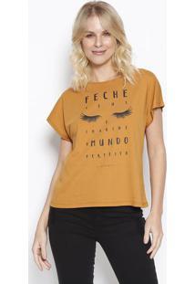 """Camiseta """"Feche Seus Olhos"""" - Marrom Claro & Preta -Sommer"""