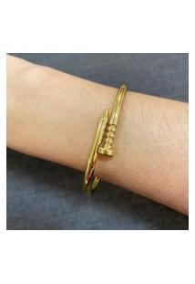 Bracelete Prego Com Banho Especial E Verniz Italiano Dourado