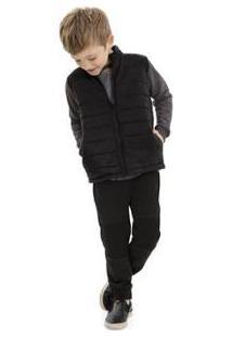 Jaqueta Infantil Em Matelasse Quimby Masculino - Masculino-Preto