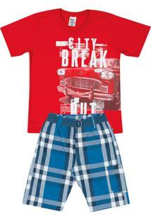 Conjunto Xadrez Vermelho Infantil Menino Meia Malha Sarjas - Masculino-Vermelho