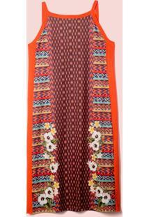 Vestido Silk Etnic Tricot Midi Laranja