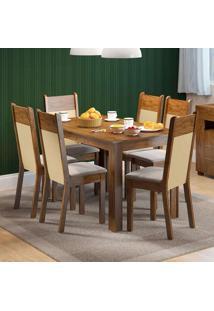 Conjunto De Mesa Com 6 Cadeiras Honduras Suede Rustic E Pérola