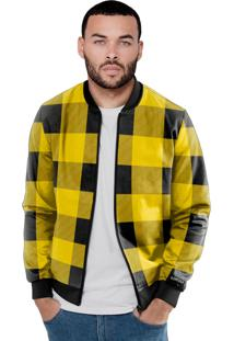 Jaqueta Bomber Chess Clothing Xadrez Amarelo