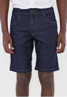 Bermuda Jeans Aramis Reta Pespontos Azul-Marinho