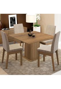 Conjunto Sala De Jantar Madesa Maitê Mesa Tampo De Madeira Com 4 Cadeiras Marrom