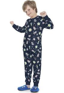 Pijama Estampado Azul Marinho