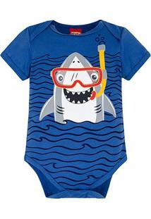Body Infantil Kyly Cotton Shark Bebê Masculino - Masculino-Azul