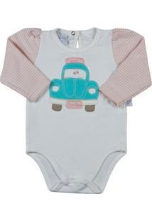 Body Bebê Cotton E Listrado Fusca - Feminino-Off White