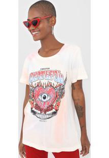 Camiseta Colcci Tie Dye Grateful Off-White/Rosa - Off White - Feminino - Algodã£O - Dafiti