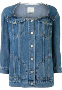 Ground Zero Collarless Denim Jacket - Azul