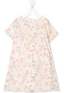 Bonpoint Vestido Com Estampa Floral E Acabamento De Renda - Rosa