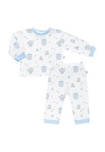 Pijama Longo Estampado Em Suedine - Anjos Baby Azul Millenium