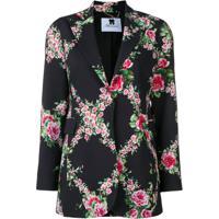 472c6ac685 Blumarine Blazer Longo Com Estampa Floral - Preto