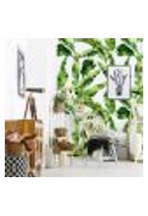 Papel De Parede Para Sala Folhas De Bananeira Verde (300 X 100 Cm)
