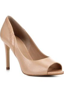 Peep Toe Couro Shoestock Salto Alto - Feminino-Nude