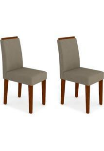 Conjunto Com 2 Cadeiras Amanda Ii Castanho E Bege