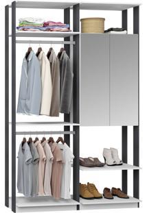 Closet 2 Portas Espelhadas 2 Cabieiros 9015 Branco/Espresso - Bentec
