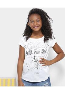 Camiseta Infantil Colcci Estampada Com Brilho Feminina - Feminino-Off White