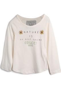 Camiseta Colcci Kids Menina Escrita Off-White