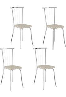 Conjunto 4 Cadeiras Tubo Cromado Tecido Estampado Carraro