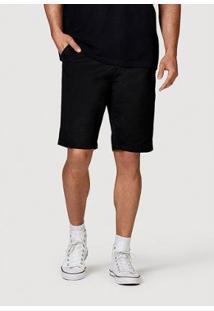 Bermuda Slim Tecido Com Cinto Masculina - Masculino-Preto