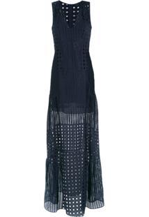 Giuliana Romanno Vestido Longo De Renda - Azul