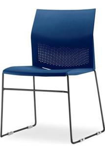 Cadeira Connect Assento Azul Base Fixa Preta - 53757 - Sun House