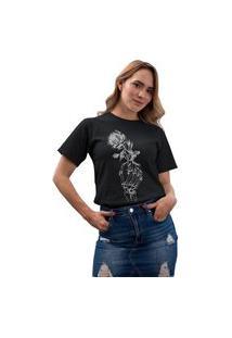 Camiseta Feminina Mirat Hand Rose Preto