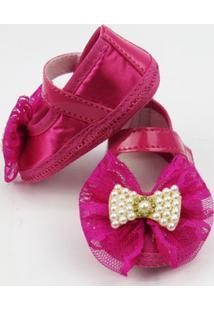 Sapato Bebê Feminino Pink Com Laço De Renda E Pérolas -P - Feminino-Pink