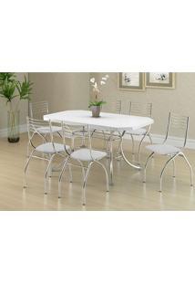 Conjunto Mesa 1507 Branca Cromada Com 6 Cadeiras 146 Branca Carraro