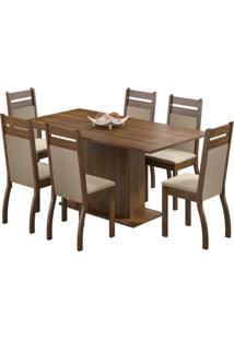 Conjunto De Mesa Com 6 Cadeiras Versalhes Rustic E Pérola