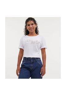 Camiseta Manga Curta Com Bordado De Mãos - Todas Avançam Juntas   Blue Steel   Branca   M