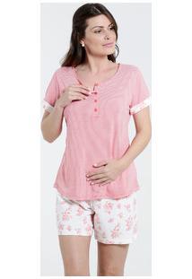 Pijama Feminino Listrado Amamentação Marisa