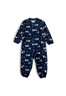 Pijama Macacão Bebê Menino Moletinho Algodão Tip Top 2830410 Marinho