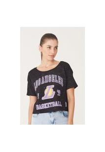 Camiseta Nba Feminina Estampada Los Angeles Lakers Preta