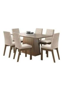 Conjunto Sala De Jantar Madesa Milena Mesa Tampo De Vidro Com 6 Cadeiras Rustic/Crema/Fendi Rustic