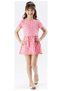 Vestido Infantil Manga Curta Estampa Borboletas Marisa