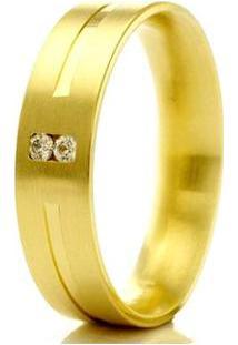 Aliança De Casamento Feminina Em Ouro 18K 750 Wm Joias 4,8Mm Com Zircônia F2299 - Feminino-Dourado