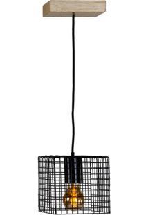 Luminaria Pendente Ogy Tela Quadrada Caixa Multilaminada Cor Preto 0,15 Cm (Alt) - 54127 - Sun House