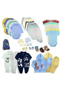 Kit Roupas De Bebê 38 Peças Enxoval Completo Menino E Menina Azul