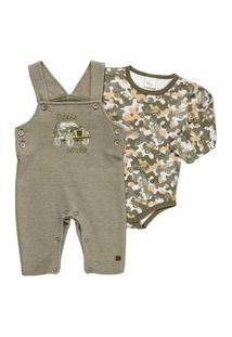 Conjunto Body E Jardineira Masculino - Anjos Baby