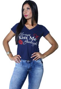 Camiseta Heide Ribeiro Always Kiss Me Goodnight Marinho