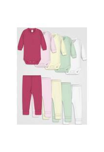 Kit 10Pçs Body Zupt Baby Enxoval Menina Rosa