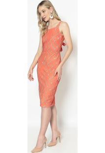 Vestido Com Vazado & Amarração - Laranja & Marrom Claro