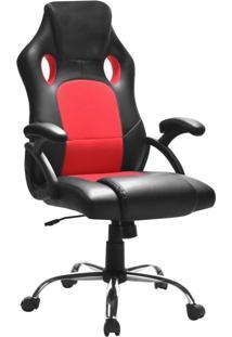 Cadeira De Escritório Diretor Giratória Gamer Play Preta E Vermelha