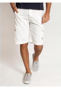 Bermuda Sarja Aleatory Prime Masculino - Masculino-Branco