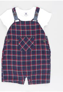 Jardineira + Body Infantil Xadrez Com Bolso Azul Marinho