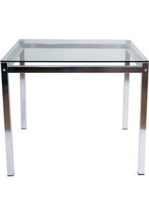 Mesa Quadrada Aluminio C/ Tampo De Vidro M011.0002 – Alegro. - Alumínio