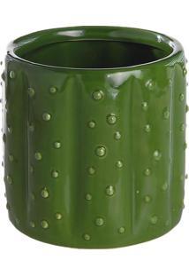 Vaso Decorativo De Cactos- Verde- 11,5Xø12,5Cm- Mdecor