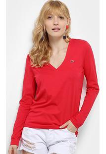 Camiseta Lacoste Manga Longa Gola V Feminina - Feminino